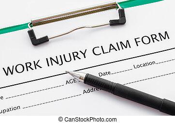 réclamation, blessure, work., formulaire