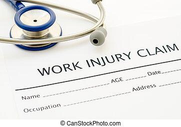 réclamation, formulaire, blessure, work.