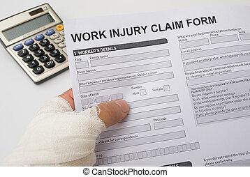 réclamation, formulaire, tenue, hurted, main, travail, blessure