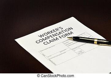 réclamation, formulaire, worker's, application, compensation