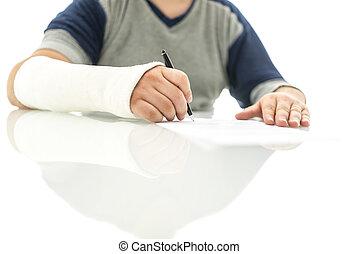 réclamation, signer, assurance