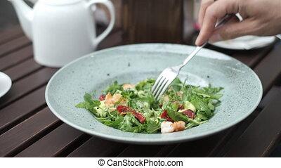 récolte, cafétéria, personne, salat, manger, crevette