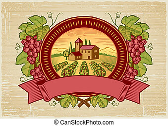 récolte, raisins, étiquette