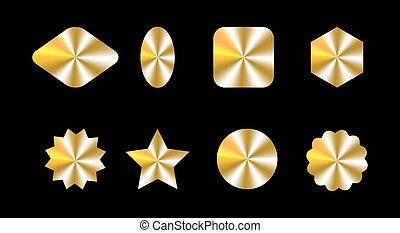récompense, formes, conception, conception, kit, différent, ensemble, hologrammes, paquet, produit, garantie, doré, étiquette