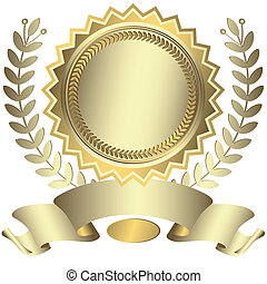 récompense, ruban, (vector), argenté