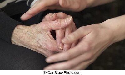 réconfortant, mains