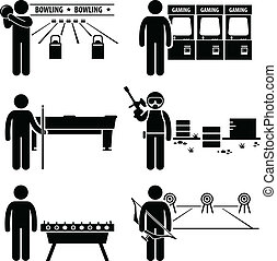 récréatif, jeux, loisir, clipart