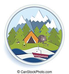 récréation, écusson, forêt, camping