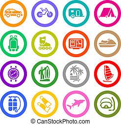 récréation, ensemble, &, vacances, icônes, voyage