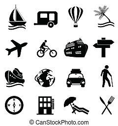 récréation, ensemble, voyage, icône, loisir