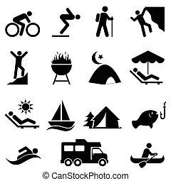 récréation, extérieur, loisir, icônes