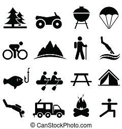 récréation, loisir, icônes