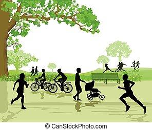 récréation, parc, sports