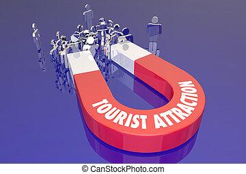 récréation, touriste, destination voyage, aimant, attraction, mots, vacances, voyage