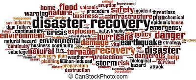 récupération, désastre, mot, nuage