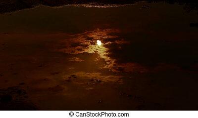 réflexion eau, lune