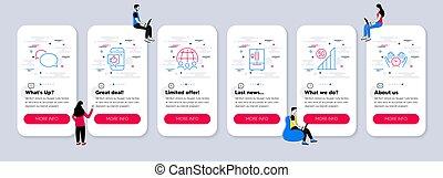réfrigérateur, messager, technologie, apparenté, wifi., 5g, vecteur, ensemble, icônes
