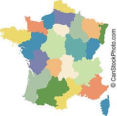 régions, carte, divisé, france