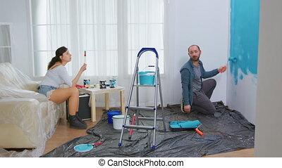 rénovation, conversation, couple, maison