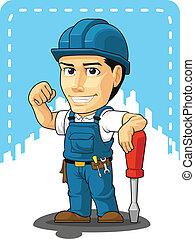 réparateur, dessin animé, technicien, ou
