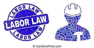 réparateur, droit & loi, main-d'œuvre, mosaïque, bleu, cachet, gratté