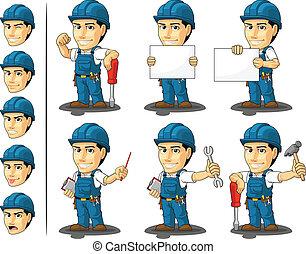 réparateur, mascotte, technicien, ou