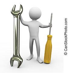 réparation, 3d, outils, homme