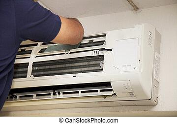 réparation, climatiseur, techniciens, air