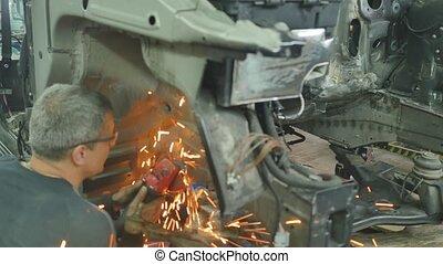 réparation, corps, garage, ouvrier, voiture