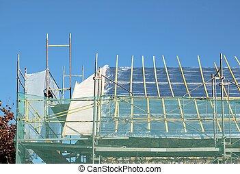 réparation, endommagé, travail, toit