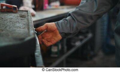 réparation, ensemble, service, voiture, haut fin, outils