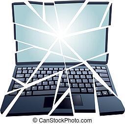 réparation, fixer, morceaux, cassé, informatique, ordinateur portable