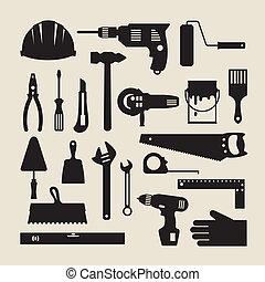 réparation, fonctionnement, set., construction, outils, icône