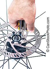 réparation, frein, disque, gros plan, roue, vélo