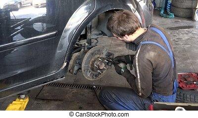 réparation, garage., voiture, ouvrier, système, frein, type, prudent