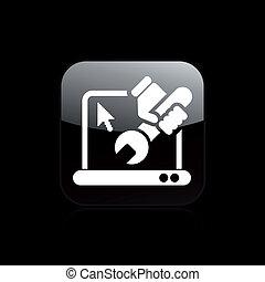 réparation, isolé, illustration, pc, unique, vecteur, icône