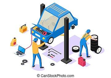 réparation, isométrique, service., voiture, équipement, homme, 3d
