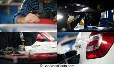 réparation, récupération, fonctionnement, processus, voiture, 1:, -grinding, atelier, 4