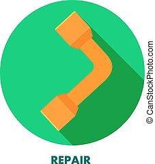 réparation, rond, vecteur, clé, fond, icon., shadow., stockage