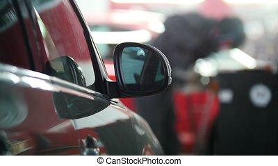 réparation, service, voiture, -, arrière plan flou, soudure