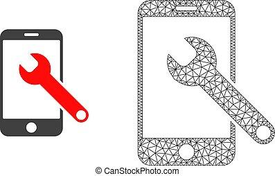 réparation, smartphone, plat, carcasse, maille, vecteur, icône