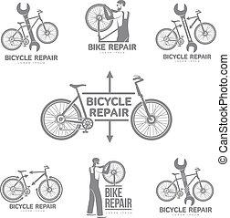 réparation, vélo, atelier, vecteur, gabarit, logo