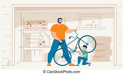 réparation, vélo, père, fils, garage, vecteur