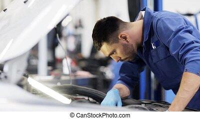 réparation, voiture, lampe, atelier, mécanicien, homme