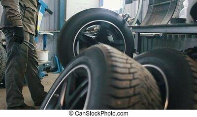 réparations, service, -, mécanique, ouvrier, pneus, atelier, voiture