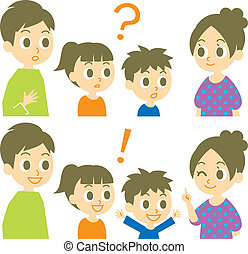réponse, famille, question