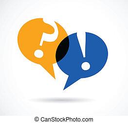 réponse, parole, bulles, points interrogation