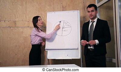 réponse, pendant, question, businesspeople, présentation