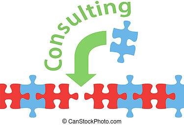 réponse, puzzle, consultant, solution, aide