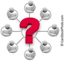 réponse, question, brain-storming, groupe